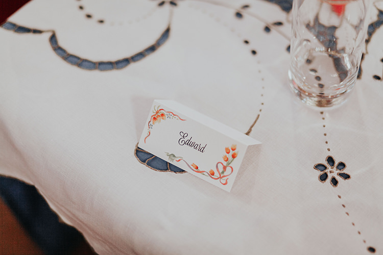Floral Place Name Card All The Colours Quirky Dinosaur Wedding https://leahlombardi.com/