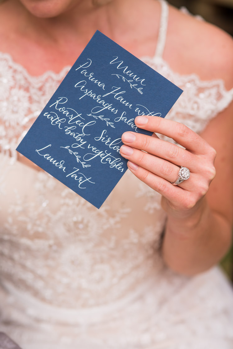Calligraphy Menu Stationery Blue White First Look Wedding Ideas Country Estate Garden http://annamorganphotography.co.uk/