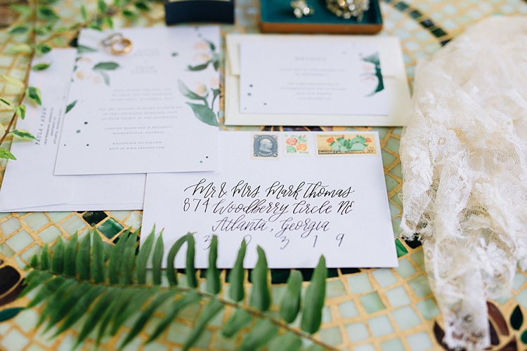 Card Gift Table Bohemian Outdoor Greenery Wedding Georgia http://www.sowingclover.com/
