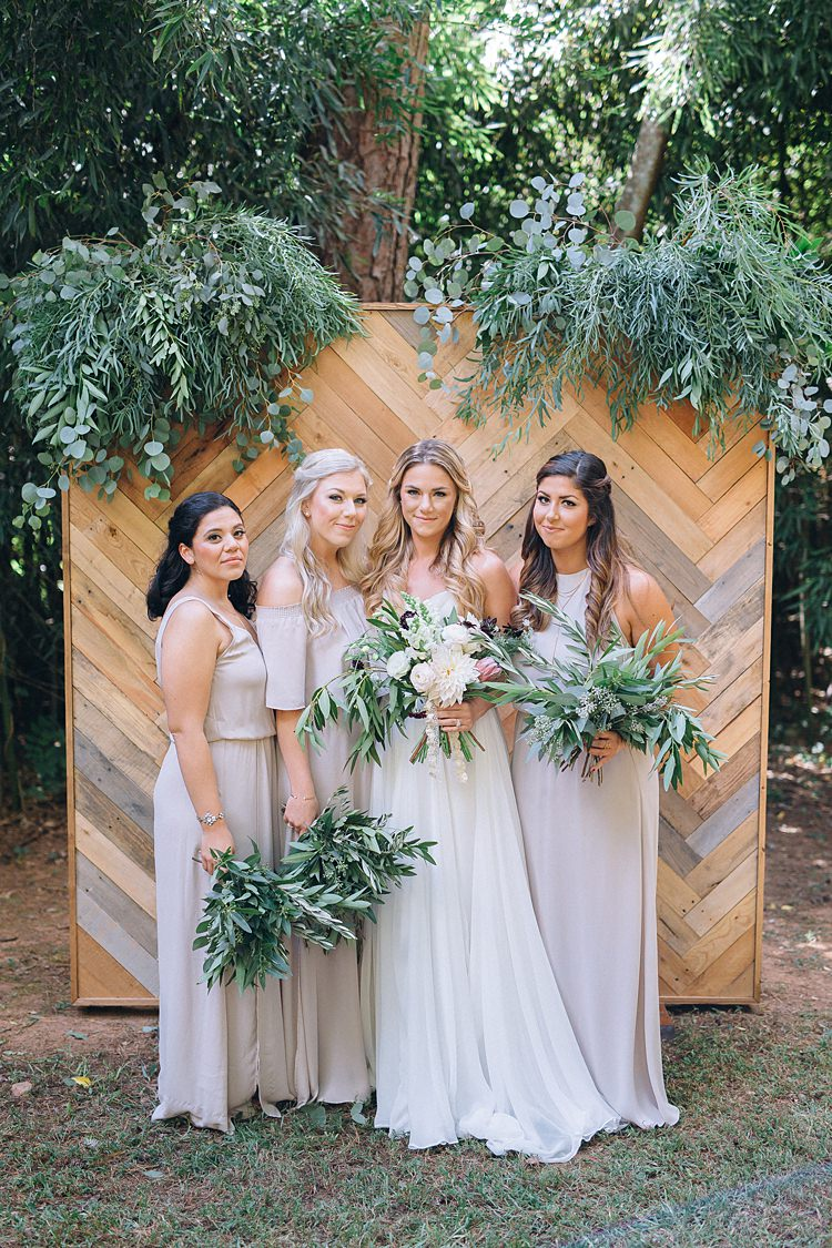 Bride Bridesmaids Mismatched Bohemian Outdoor Greenery Wedding Georgia http://www.sowingclover.com/