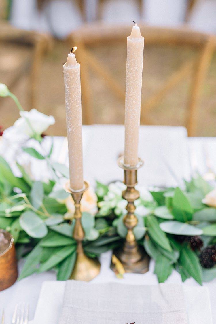 Table Decoration Candles Bohemian Outdoor Greenery Wedding Georgia http://www.sowingclover.com/