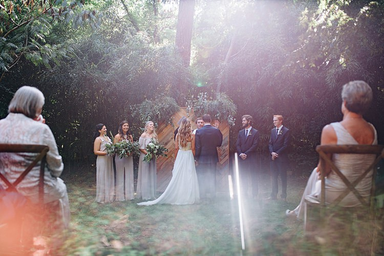 Ceremony Trees Bridal Party Bohemian Outdoor Greenery Wedding Georgia http://www.sowingclover.com/