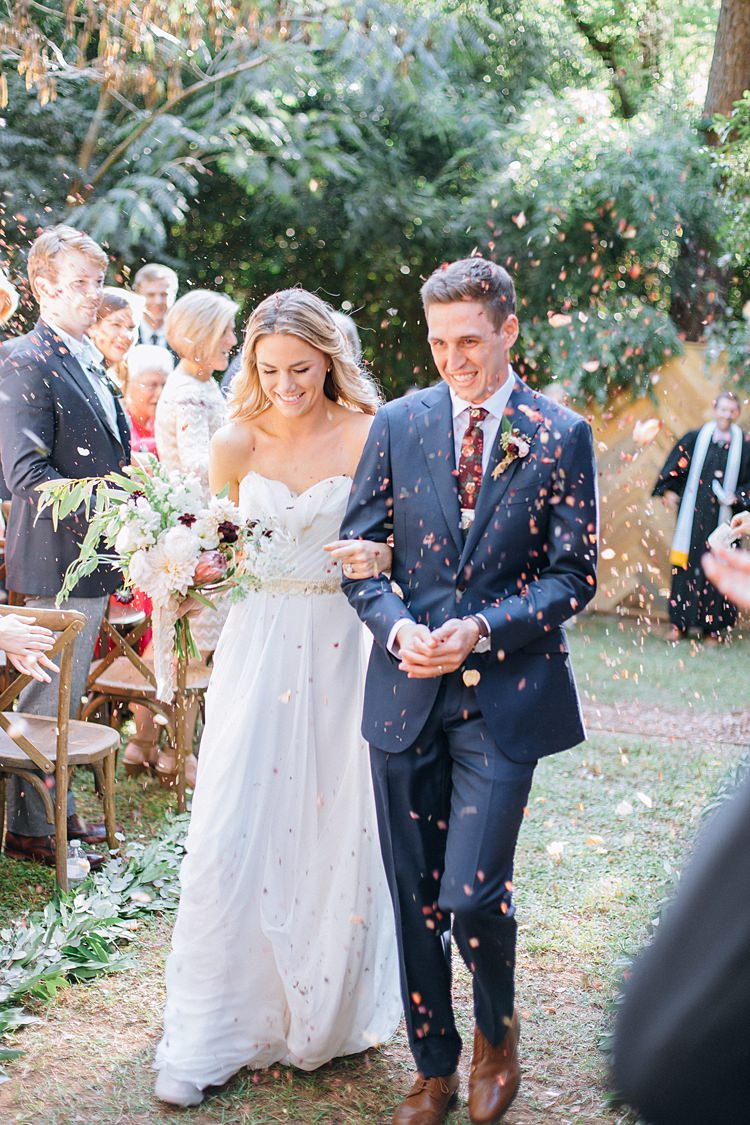 Bride Groom Exit Confetti Aisle Bohemian Outdoor Greenery Wedding Georgia http://www.sowingclover.com/