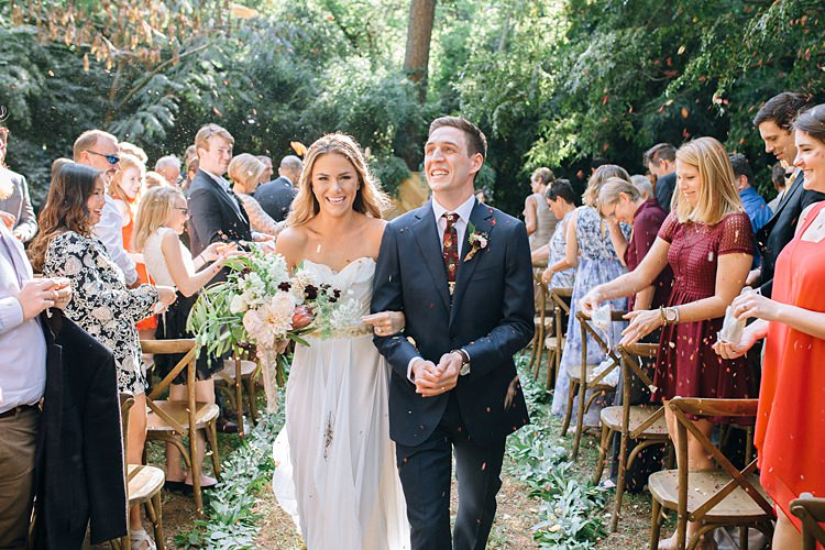 Confetti Bride Groom Exit Aisle Bohemian Outdoor Greenery Wedding Georgia http://www.sowingclover.com/