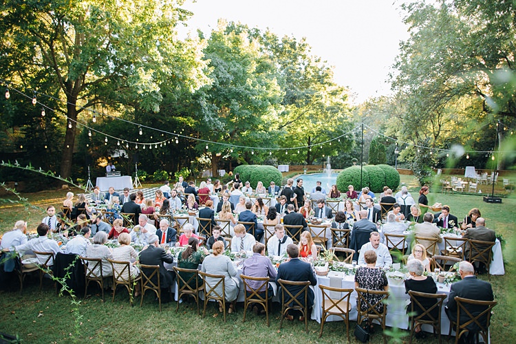 Guests Eating Festoon Lighting Trees Bohemian Outdoor Greenery Wedding Georgia http://www.sowingclover.com/