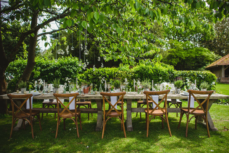 Tablescape Decor Table Flowers Cutlery Plates Candles Pot Plants Garden of Hygge Wedding Ideas http://www.sophieduckworthphotography.com/