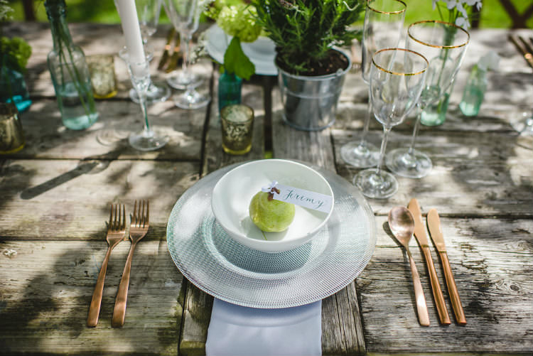 Pear Place Name Setting Card Decor Garden of Hygge Wedding Ideas http://www.sophieduckworthphotography.com/