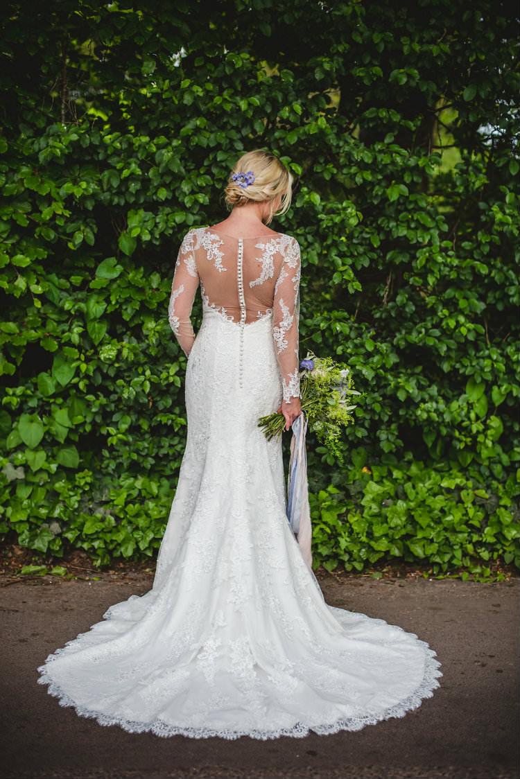 Ellis Bridal Long Lace Sleeves Dress Bride Bridal Gown Illusion Back Train Garden of Hygge Wedding Ideas http://www.sophieduckworthphotography.com/
