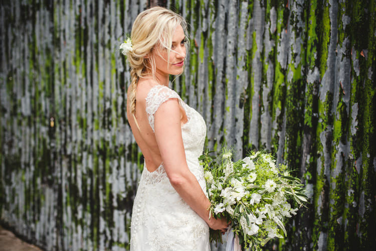 Romantica of Devon Lace Dress Gown Bride Bridal Low Back Buttons Garden of Hygge Wedding Ideas http://www.sophieduckworthphotography.com/