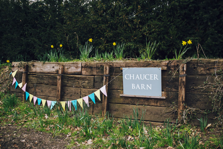 Welcome Sign Bunting Entrance Relaxed Bohemian Spring Barn Wedding http://emilytylerphotography.com/
