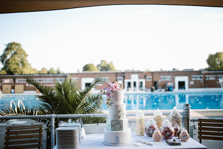 Topical Art Deco Gatsby 20s 30s Modern Cake Laid Back Local London Lido Wedding http://andrewbrannanphotography.co.uk/