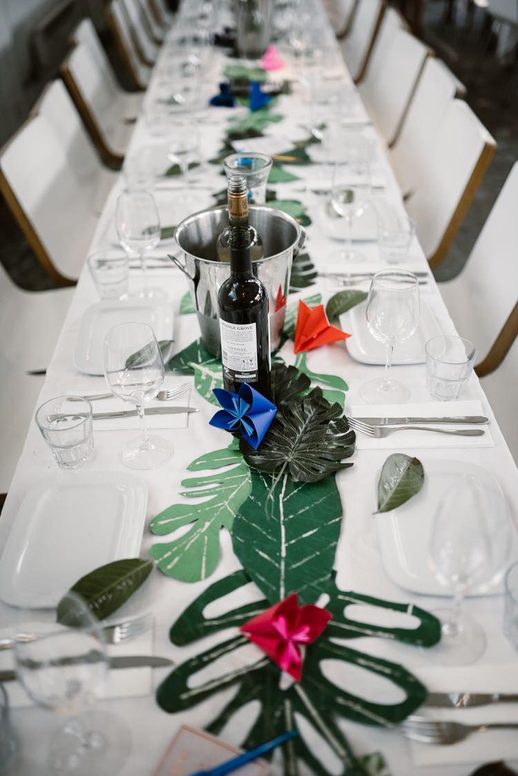 Topical Leaves Leaf Table Centrepiece Decor Laid Back Local London Lido Wedding http://andrewbrannanphotography.co.uk/