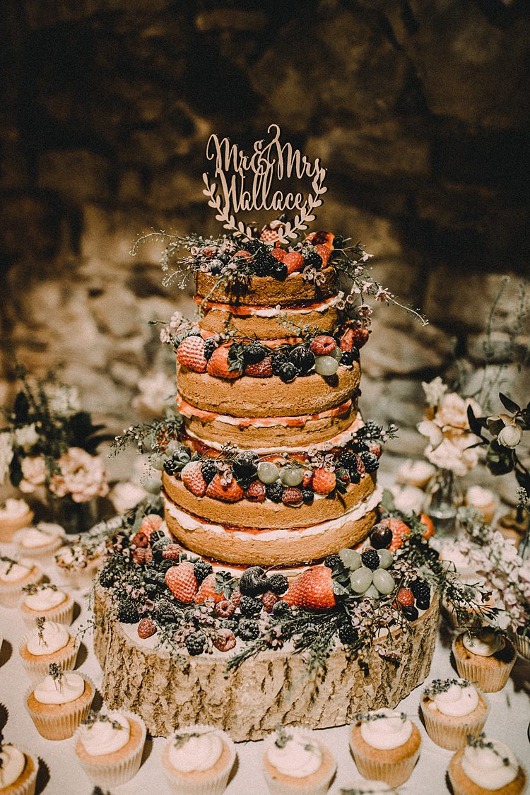 Naked Cake Sponge Layer Fruit Berries Topper Cup Cakes Log Woodland Lavender Spring Country Wedding http://www.carlablainphotography.co.uk/