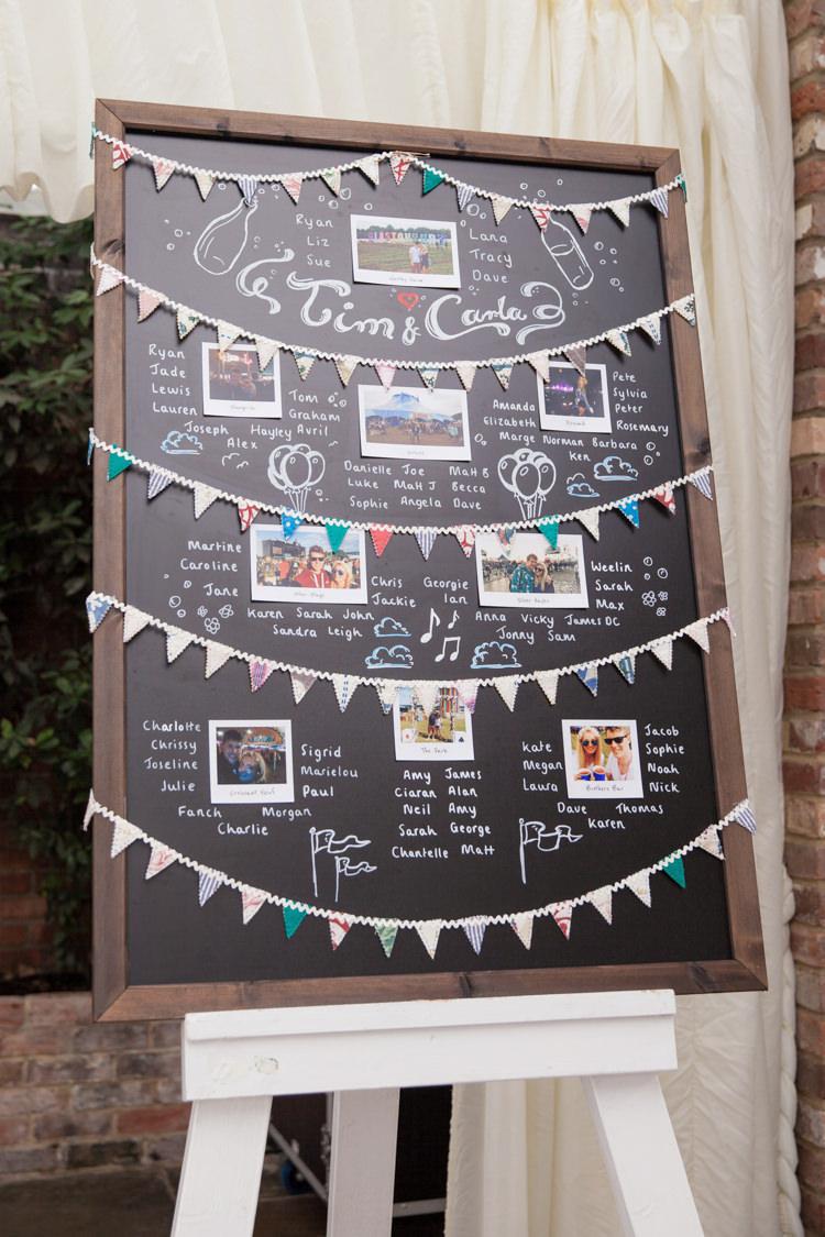 Chalk Board Black Bunting Photo Table Seating Plan Chart Summer Festival Country Estate Wedding http://kerryannduffy.com/