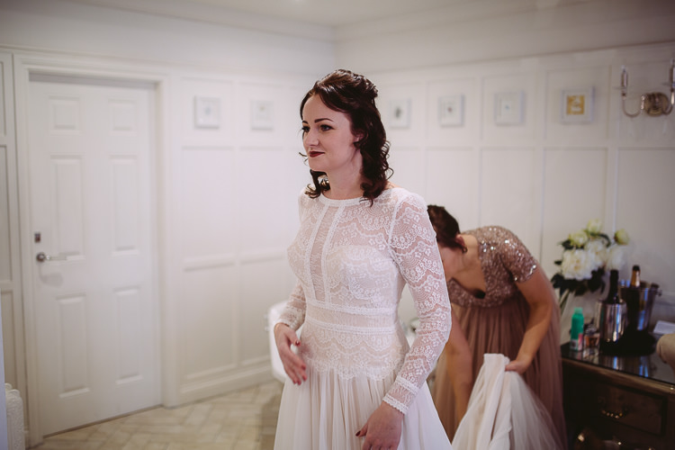 Lace Sleeves Dress Bride Bridal Simple Cosy Country Winter Wedding http://hayleybaxterphotography.com/