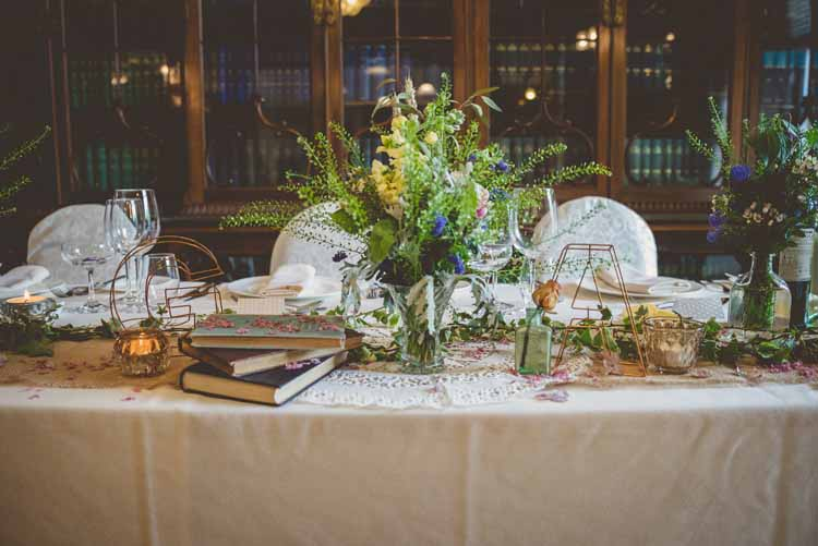 Top Table Copper Letters Wire Books Foliage Flower Jugs Floral Eclectic Floral Fun Wedding http://www.photographybypaloma.co.uk/