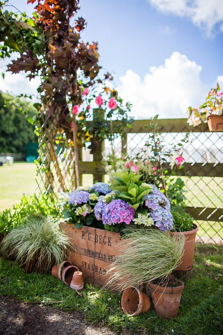Crate Flowers Terracotta Pots Country Rustic Picnic Marquee Wedding https://www.binkynixon.com/