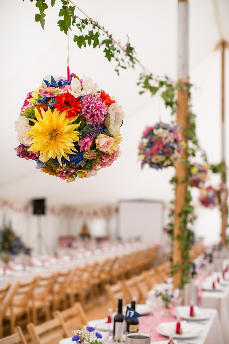 Flower Ball Kissing Colourful Pole Tent Decor Greenery Foliage Country Rustic Picnic Marquee Wedding https://www.binkynixon.com/