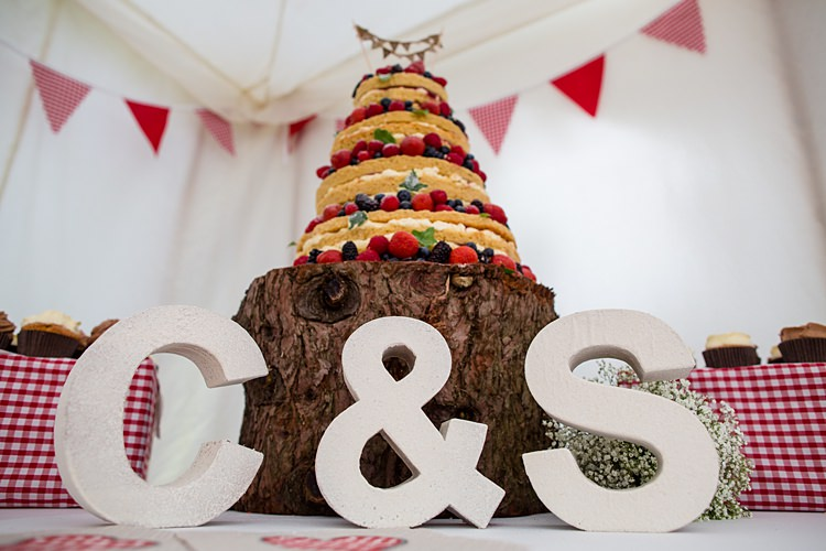 Naked Cake Log Stand Country Rustic Picnic Marquee Wedding https://www.binkynixon.com/