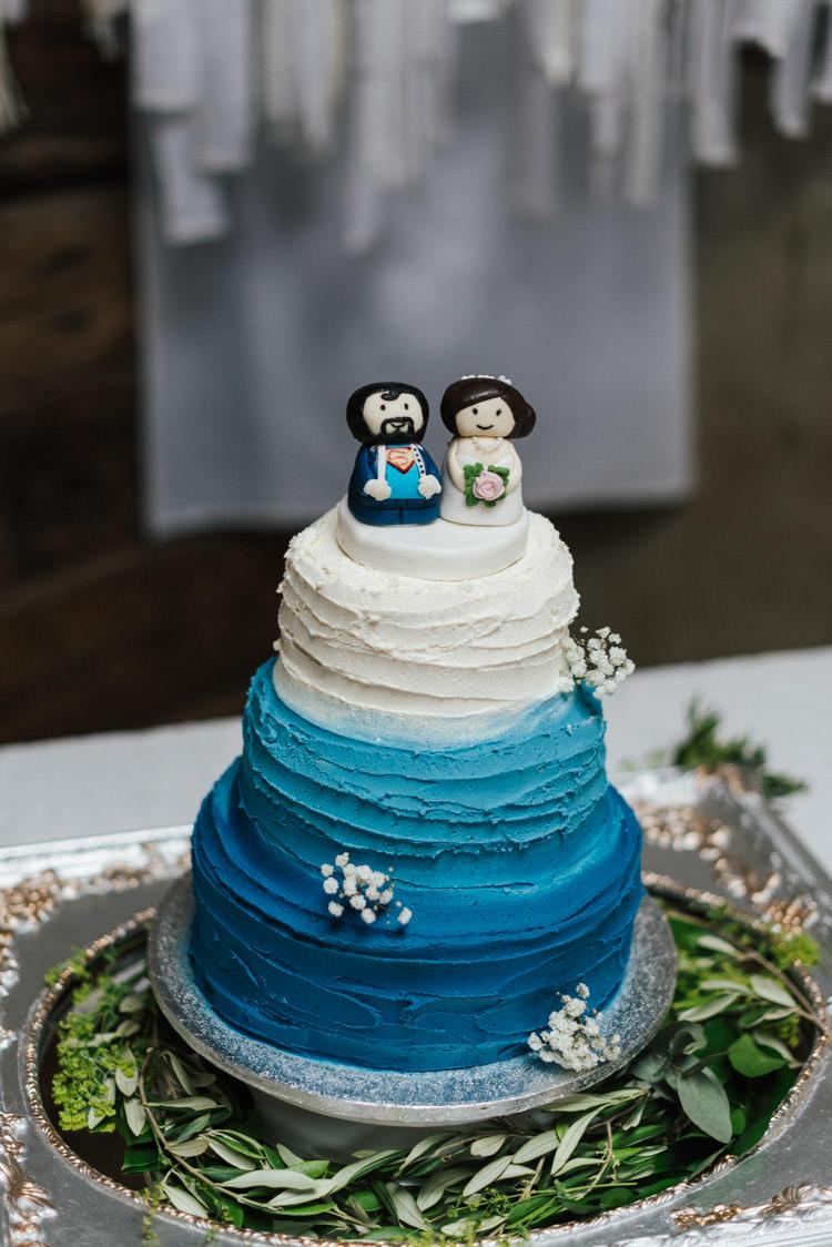Blue Ombre Buttercream Cake Topper Whimsical Wedding Sea Rustic Barn http://sugarbirdphoto.co.uk/