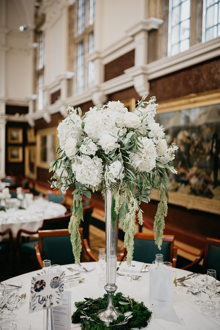 Peony Olive Leaves Flowers Tall Table Centrepiece Boho Fun Loving University Wedding http://andrewbrannanphotography.co.uk/