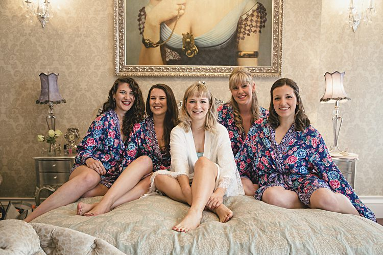 Floral Dressing Gowns Bride Bridesmaids Colourful Home Made Vintage City Wedding http://kat-hill.com/