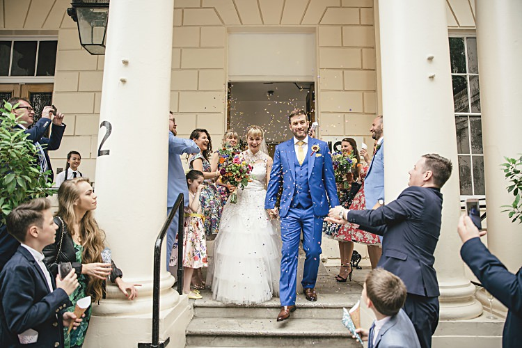 Confetti Throw Colourful Home Made Vintage City Wedding http://kat-hill.com/