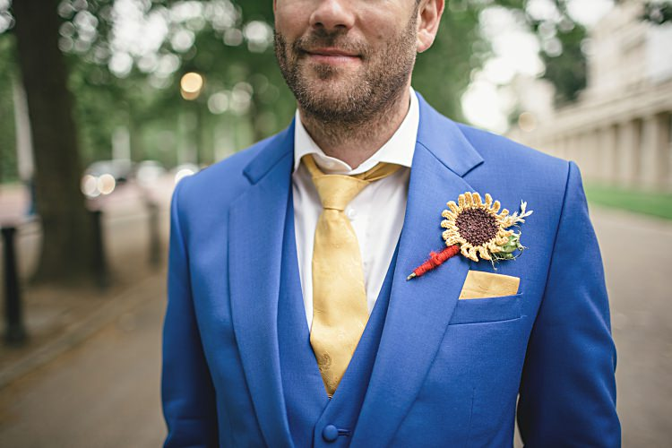 Kintted Sunflower Buttonhole Colourful Home Made Vintage City Wedding http://kat-hill.com/