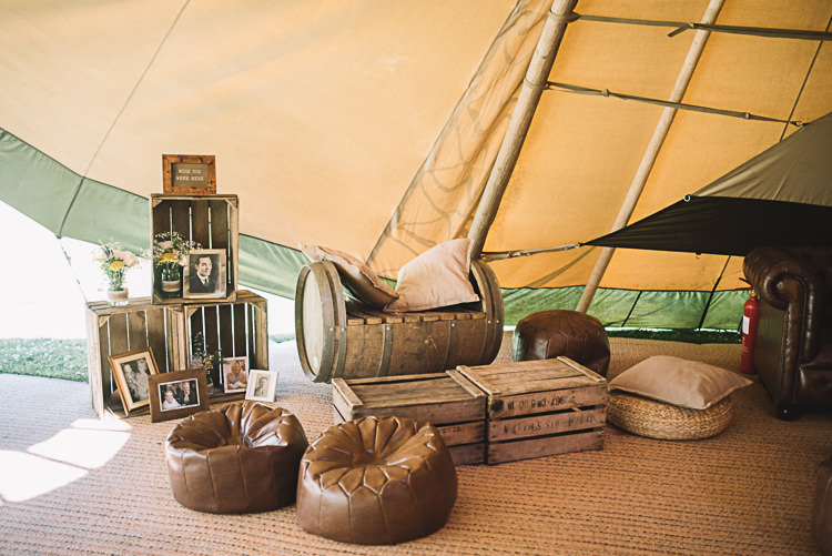 Crates Decor Seating Area Rustic Boho Summer Tipi Wedding https://www.luciewatsonphotography.com/