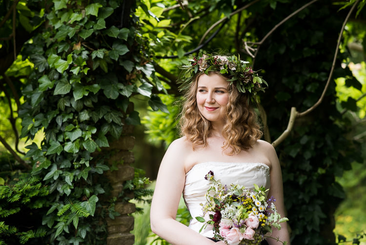 Bride Bridal Cathy Roberts Wedding Dress Gown Strapless Flower Crown Greenery Foliage Laurel Bouquet Rose Daisies Gypsophila Lavender Trailing Ribbon Pretty Urban Nature Wedding Ideas http://www.fionasweddingphotography.co.uk/