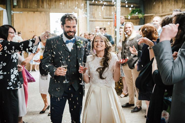 Confetti Throw Bride Groom Whimsical Wedding Sea Rustic Barn http://sugarbirdphoto.co.uk/