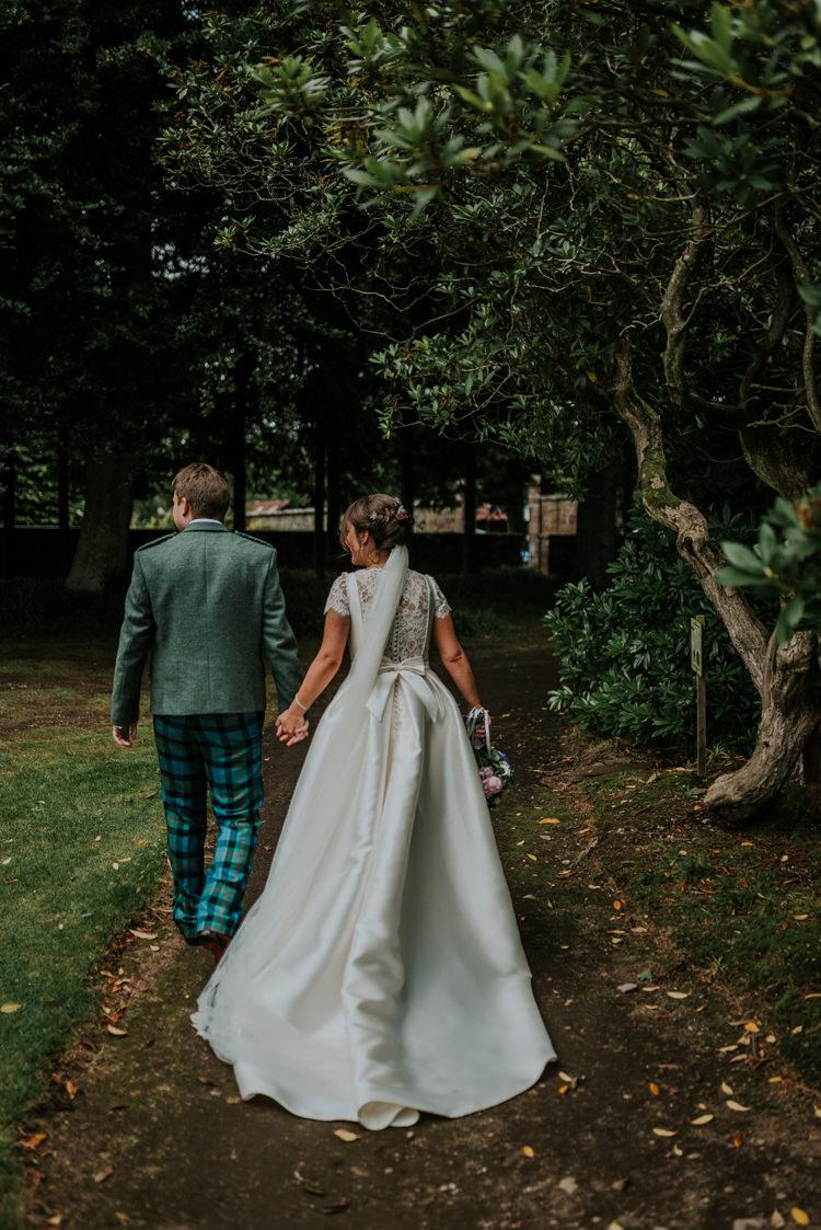 Pronovias Dress Gown Bride Bridal Cap Sleeves Lace Bow Veil Enchanting Cornflower Blue Marquee Wedding https://burfly.co.uk/
