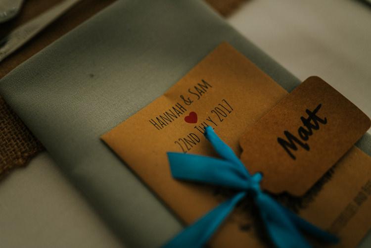 Kraft Stationery Place Setting Card Enchanting Cornflower Blue Marquee Wedding https://burfly.co.uk/