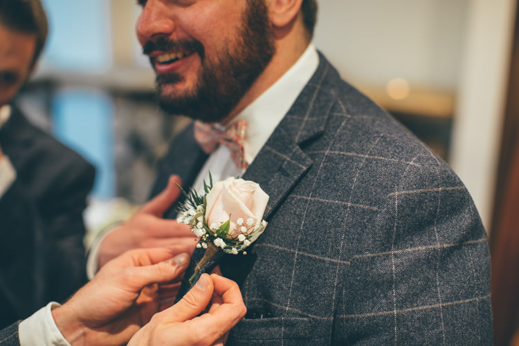 Rose Buttonhole Groom Pretty Pale Pink Scenic Coast Wedding http://rachellambertphotography.co.uk/