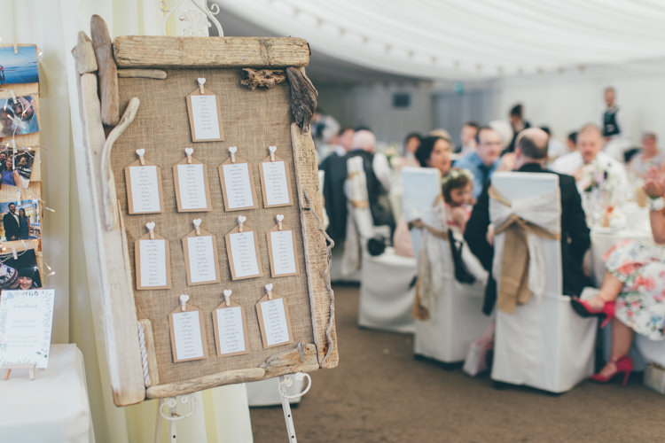 Hessian Driftwood Table Seating Chart Plan Pretty Pale Pink Scenic Coast Wedding http://rachellambertphotography.co.uk/