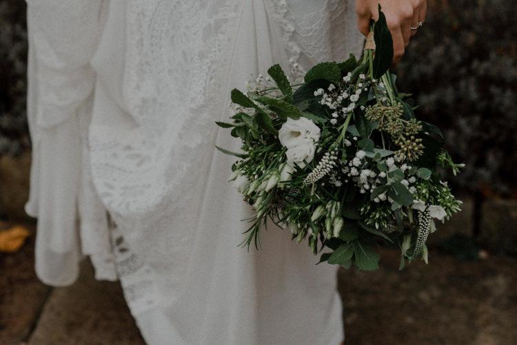 Greenery Foliage White Bouquet Flowers Bride Bridal Dreamy Natural Boho Barn Wedding https://heychrisrandle.com/