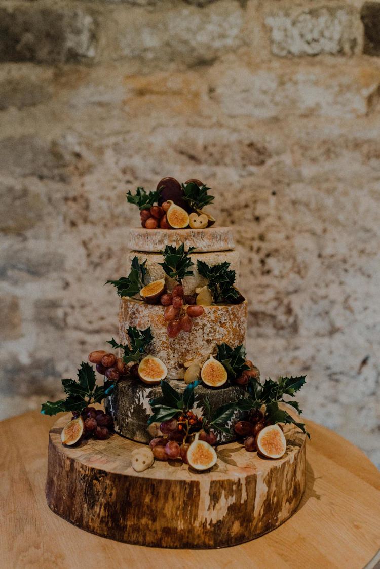Cheese Tower Stack Cake Log Fruit Dreamy Natural Boho Barn Wedding https://heychrisrandle.com/