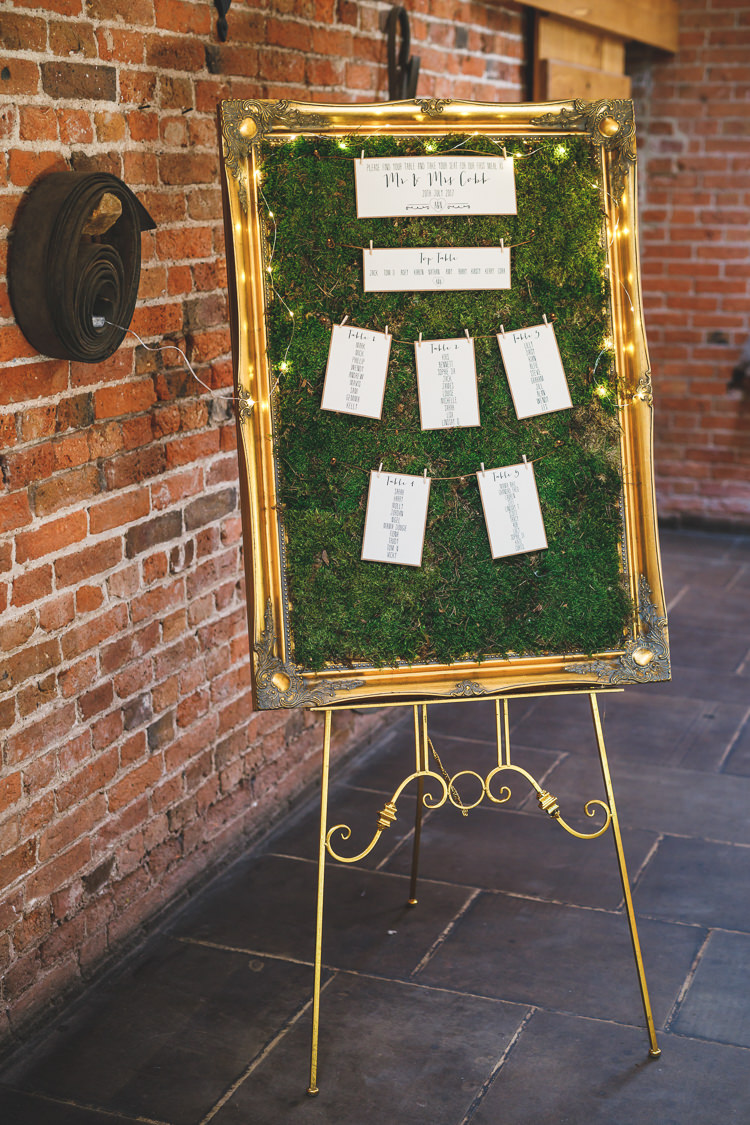 Table Plan Seating Chart Gold Frame Fairy Lights Moss Rustic Barn Red Gold Glam Wedding https://garethnewsteadphotography.com/