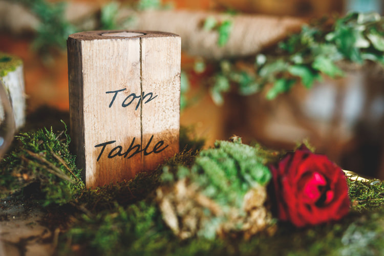 Top Table Name Number Wood Slice Tea Light Holder Moss Rose Rustic Barn Red Gold Glam Wedding https://garethnewsteadphotography.com/