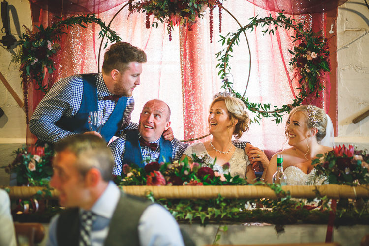 Floral Greenery Hoops Rose Dhalia Voile Table Runner Rustic Barn Red Gold Glam Wedding https://garethnewsteadphotography.com/