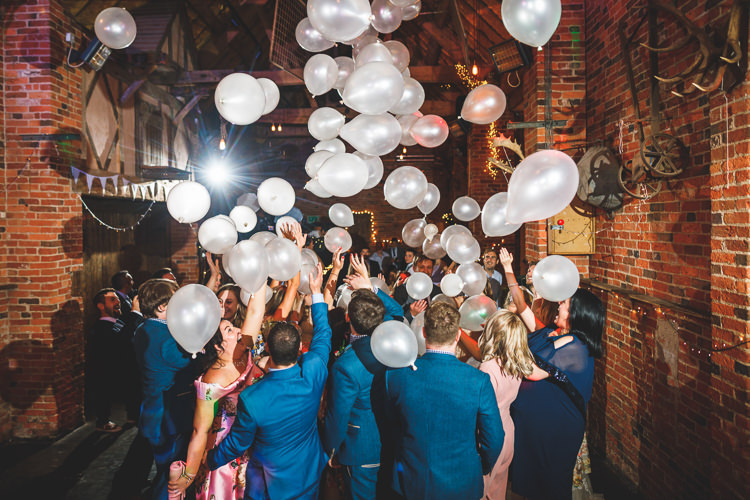 Balloon Release Dance Floor Rustic Barn Red Gold Glam Wedding https://garethnewsteadphotography.com/