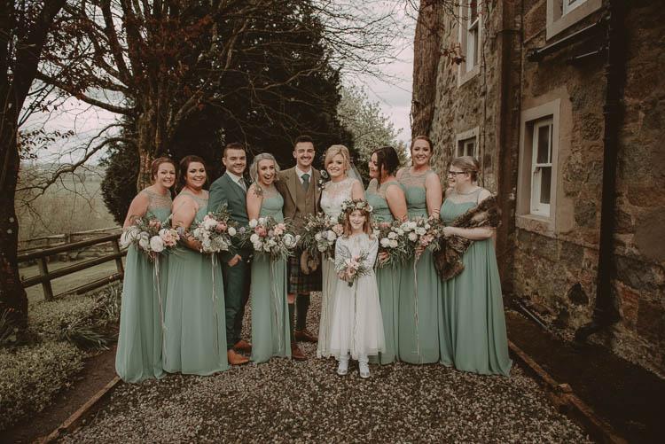 Long Green Bridesmaid Dresses Whimsical Modern Rustic Barn Wedding http://photomagician.co.uk/