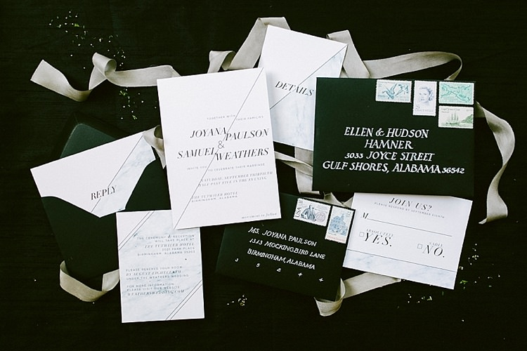 Black White Stationery Invites Save the Date RSVP Modern Elegance Marble Greenery Gold Wedding Ideas http://www.jettwalkerphotography.com/