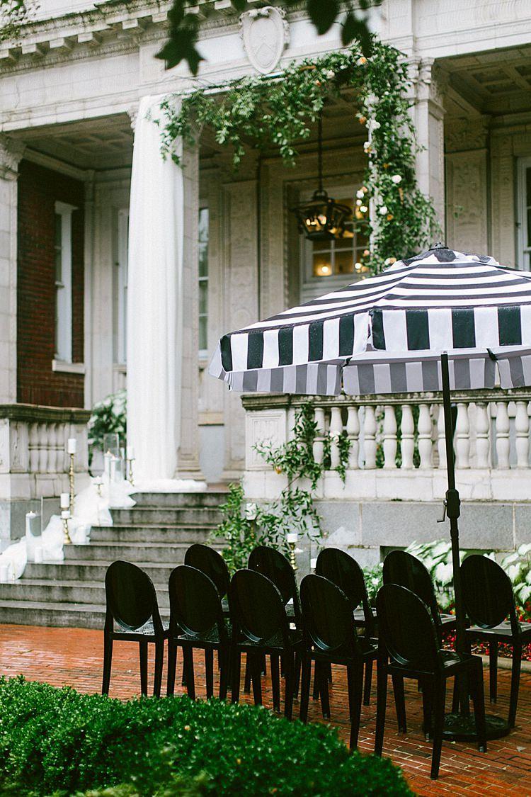 Ceremony Black White Umbrella Chairs Steps Aisle Stone Modern Elegance Marble Greenery Gold Wedding Ideas http://www.jettwalkerphotography.com/
