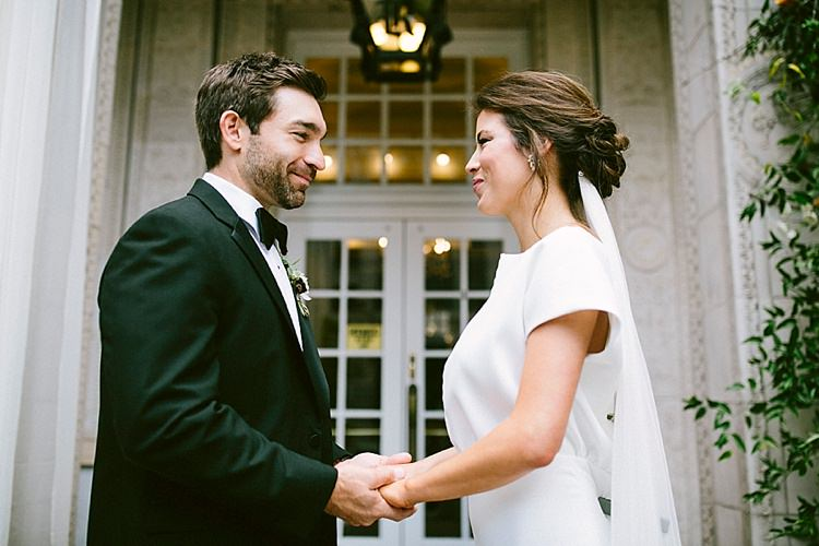 Groom Black Tie Bride Up Do Long Veil Plain Short Sleeve Dress Modern Elegance Marble Greenery Gold Wedding Ideas http://www.jettwalkerphotography.com/