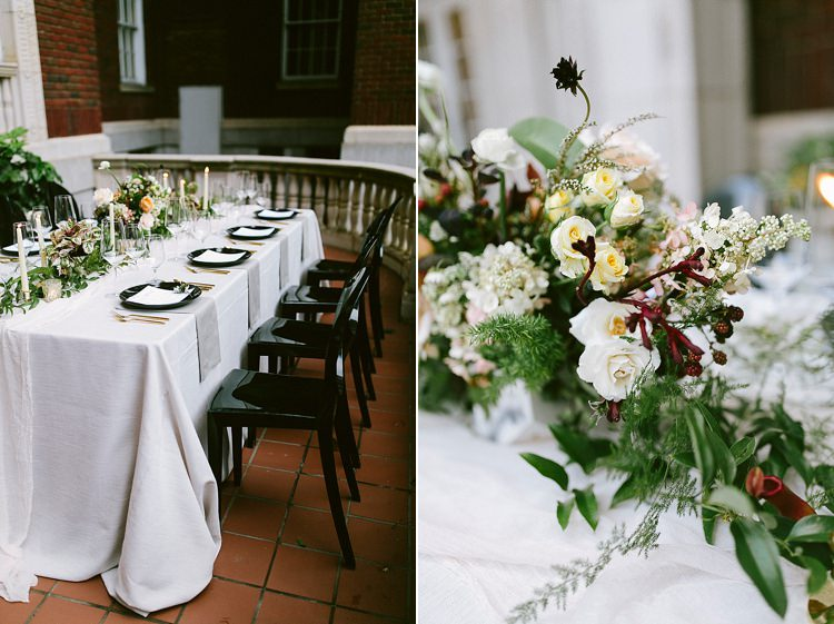 Black White Place Setting Table Decor Chairs Modern Elegance Marble Greenery Gold Wedding Ideas http://www.jettwalkerphotography.com/