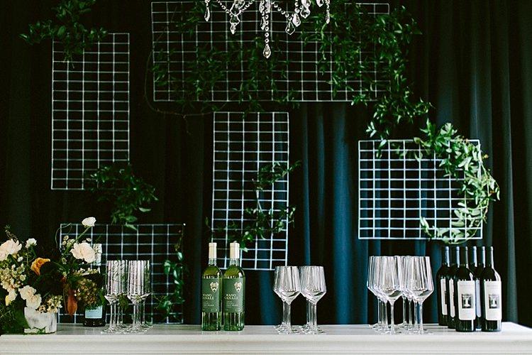 Glassware Bar Wine Drinks Chandelier Modern Elegance Marble Greenery Gold Wedding Ideas http://www.jettwalkerphotography.com/