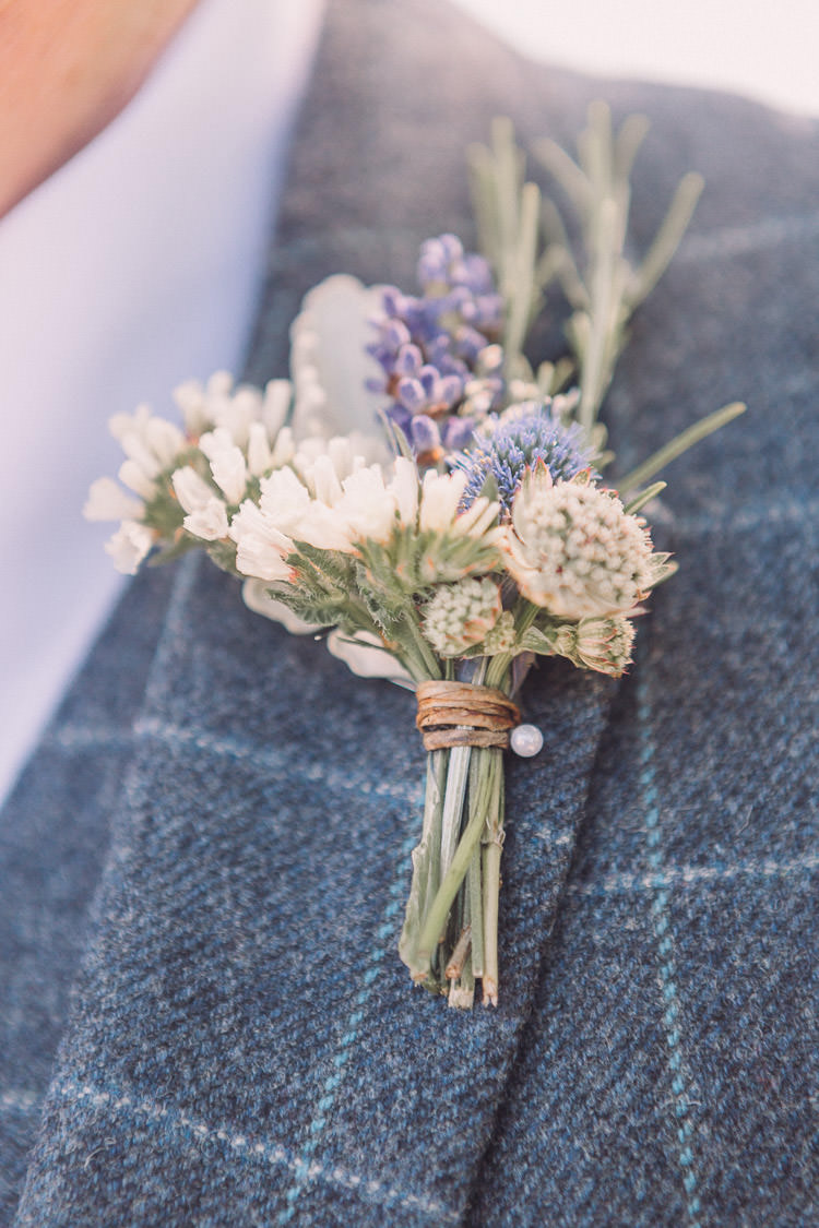 Buttonhole Flowers Floral Lavender Rosemary Relaxed Outdoor Marquee Farm Wedding http://www.jenniferjanephotography.co.uk/