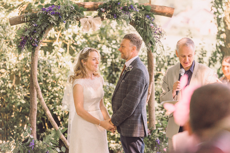 Ceremony Backdrop Arch Homemade DIY Kate Walker Bride Bridal Dress Moss Bros Groom Tweed Relaxed Outdoor Marquee Farm Wedding http://www.jenniferjanephotography.co.uk/