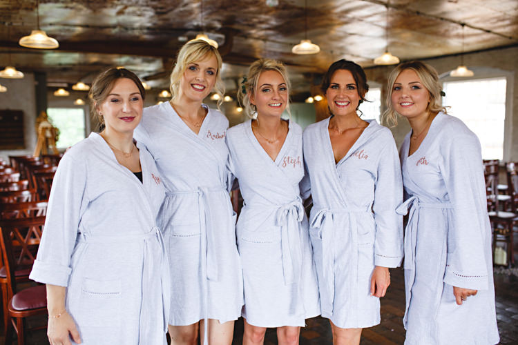 Bride Bridesmaids Dressing Gowns Industrial Rose Gold Dove Grey Greenery Wedding http://hbaphotography.com/